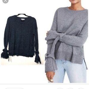 Madewell blue tie sleeve sweater